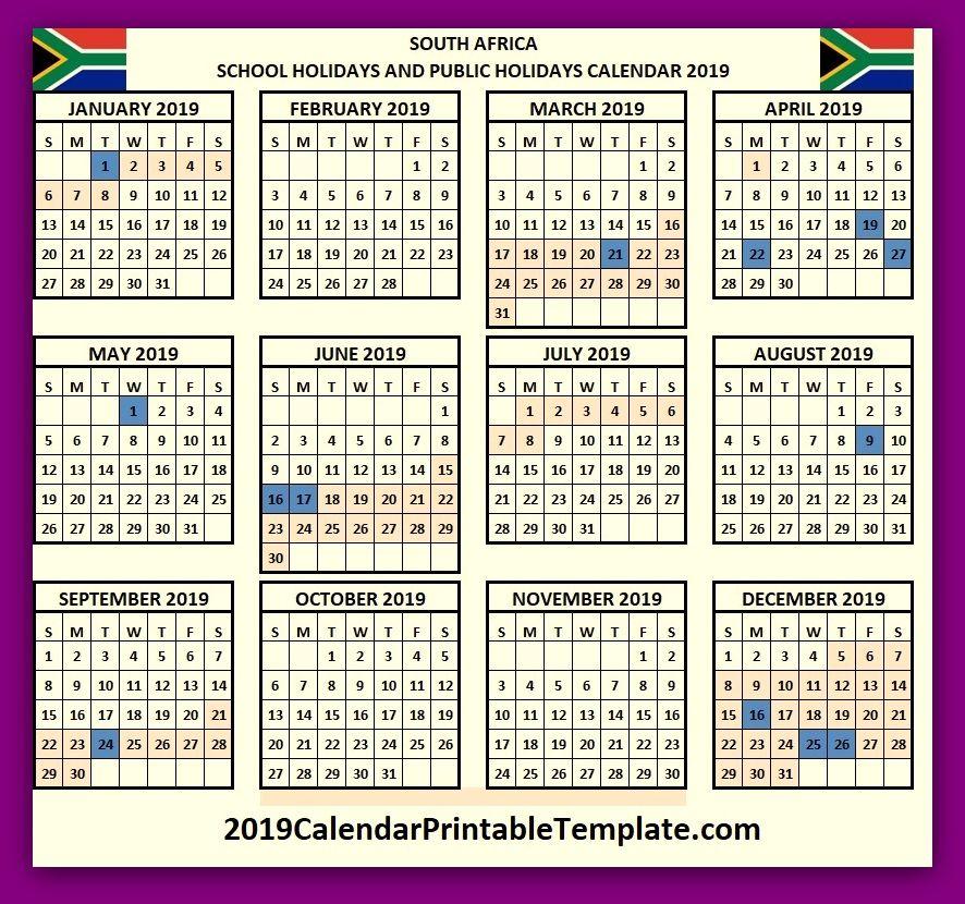 calendar 2019 south africa