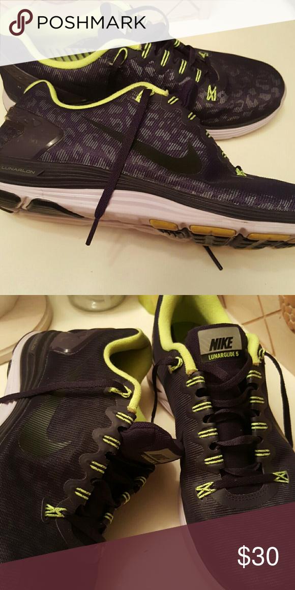 f9bb11636b3c4 Womens Nike 10.5 like new Black  purple wt lime green. Nike Shoes Athletic  Shoes