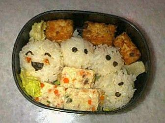 Happy Catapillar Rice with 2 flavours Prawn Tofu...