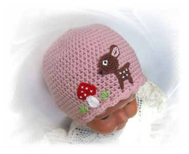 Mütze Reh  Merino, Häkelmütze, Kindermütze, Babymütze, Fliegenpilz