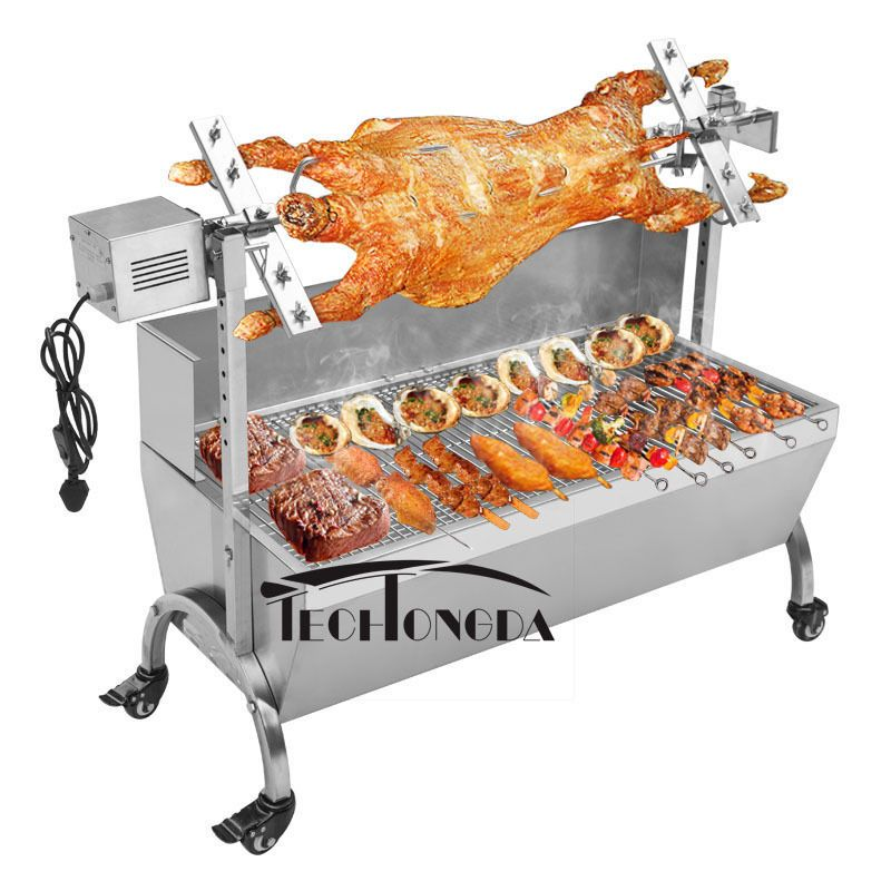 """46"""" Large Stainless Steel BBQ Pig Lamb Goat Chicken Spit"""