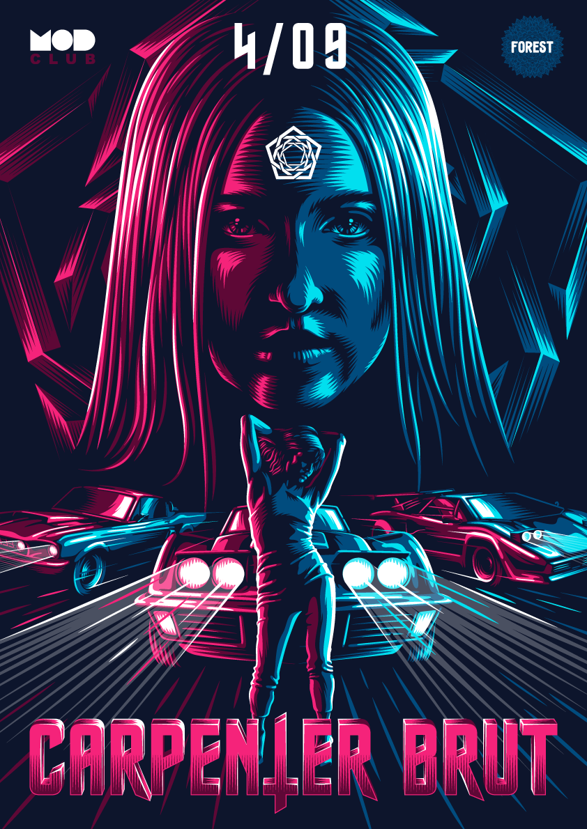 Poster For Gig With Retro Wave Band Carpenter Brut In 2019
