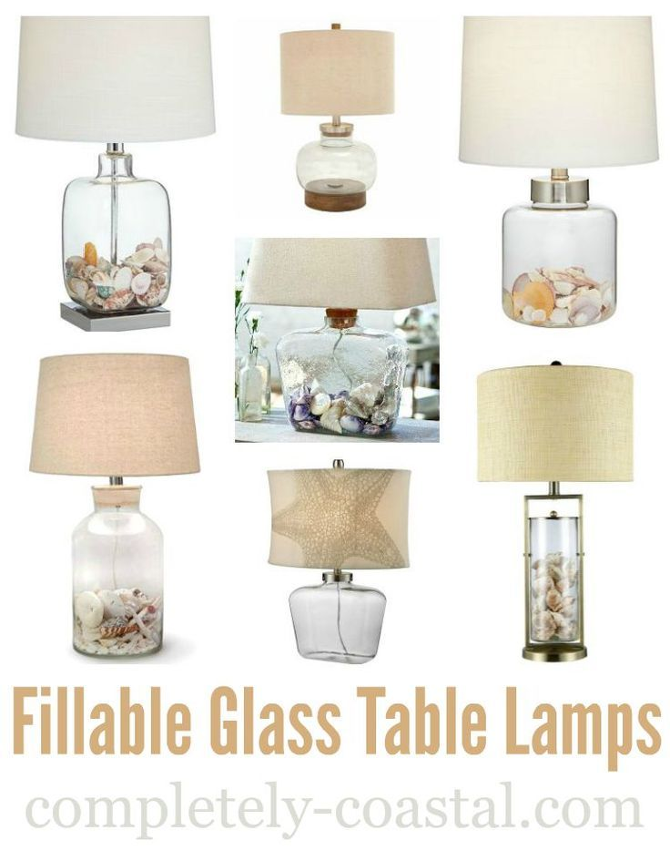 Fillable Glass Table Lamps Beach Shell Jar Lamps More Glass Table Lamp Beach Lamps Shell Lamp