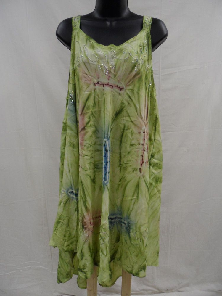 79f6cdfff66 Plus Size 1X 2X 3X 4X 5X EMBELLISHED Cover-Up DRESS Cruise TIE DYED Trendy  NWT…