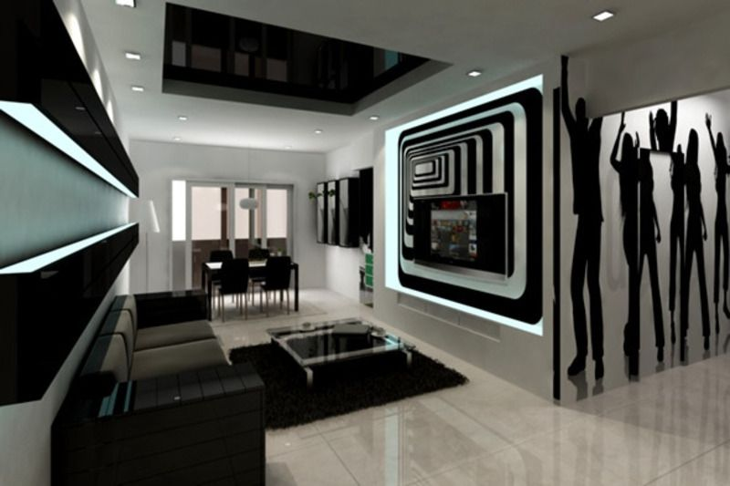 A Bit To Much But Decent Concept Condo Designs Pinterest - Black-and-white-interior-by-tom-atwoo