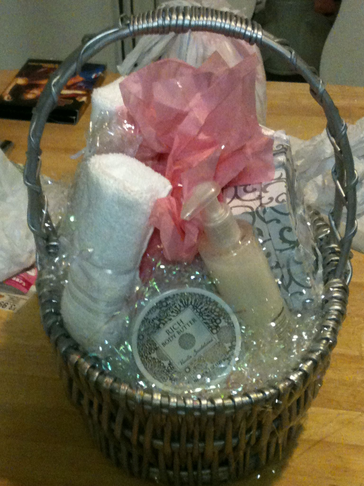Gift Basket in the making. I can personalize your special gift basket for any occasions. This is the Satin Hands set I made for a Mary Kay party; we held a raffle draw at the end of the party.