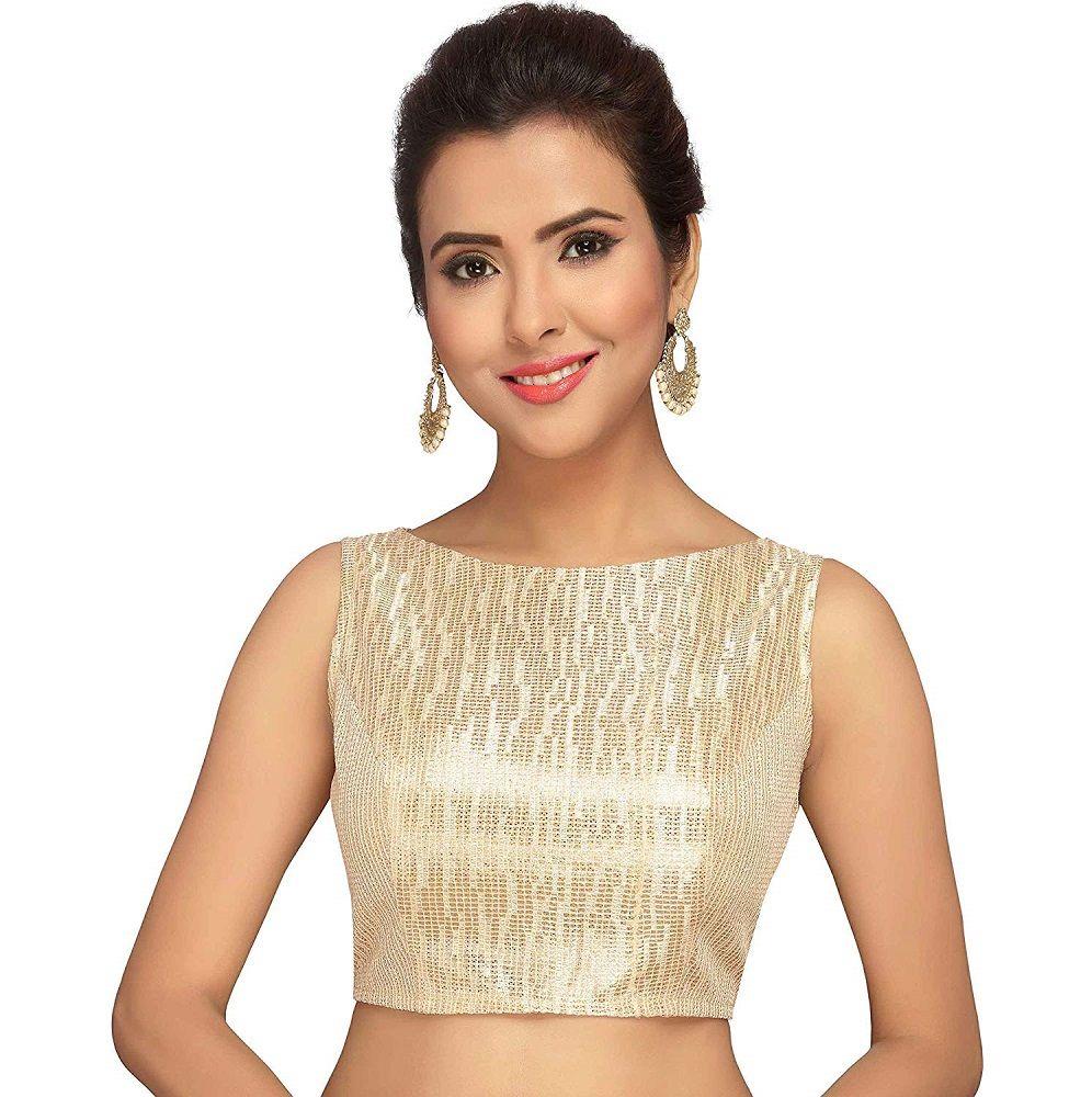 Saree Blouse For Women Sari Top boat neck Saree Blouse Readymade cotton based self embroidery saree blouse