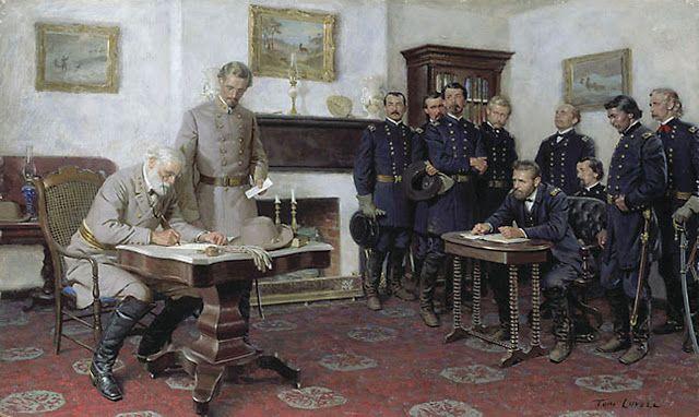 Painting by Tom Lovell of Gen. Robert E. Lee's Surrender to Gen. Ulysses S. Grant at Appomattox, VA