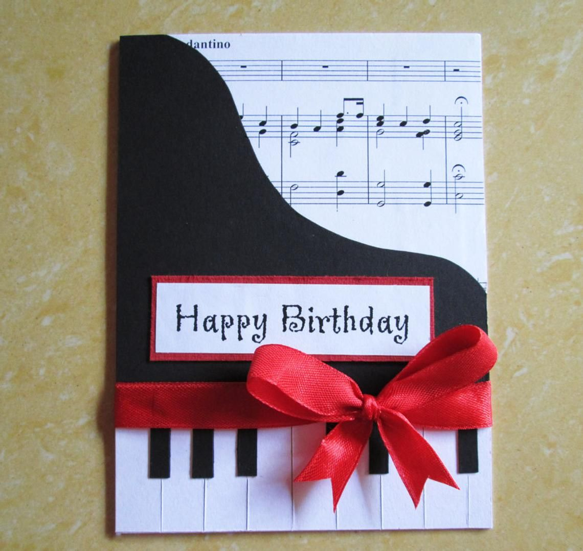 Strange Piano Happy Birthday Card Music Themed Birthday Greeting Card Personalised Birthday Cards Cominlily Jamesorg