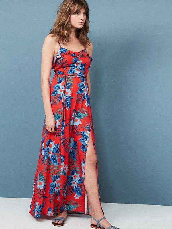 Red Tropical Frill Maxi Dress   Sarahs wedding   Pinterest   Maxi ...