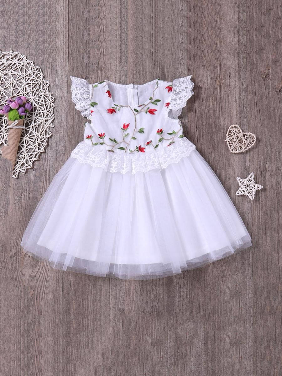 Girls floral embroidery lace panel mesh dress shein