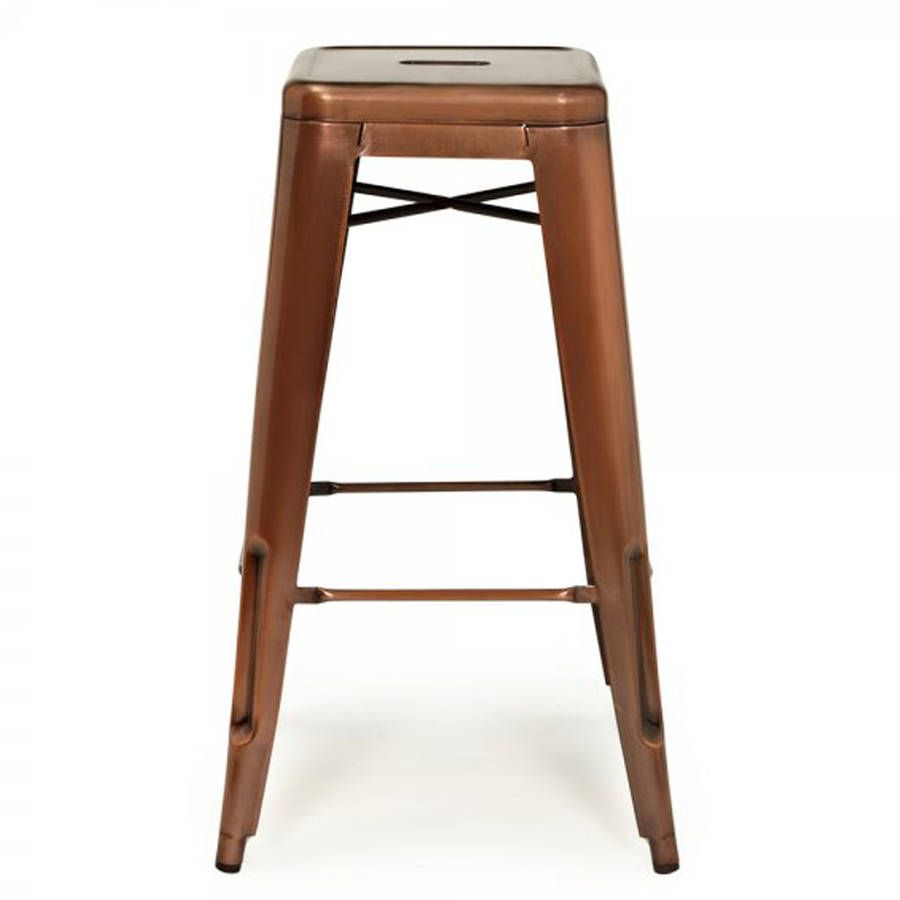 New Copper Metal Wood Counter Stool Kitchen Dining Bar: A Copper Industrial Bar Stool