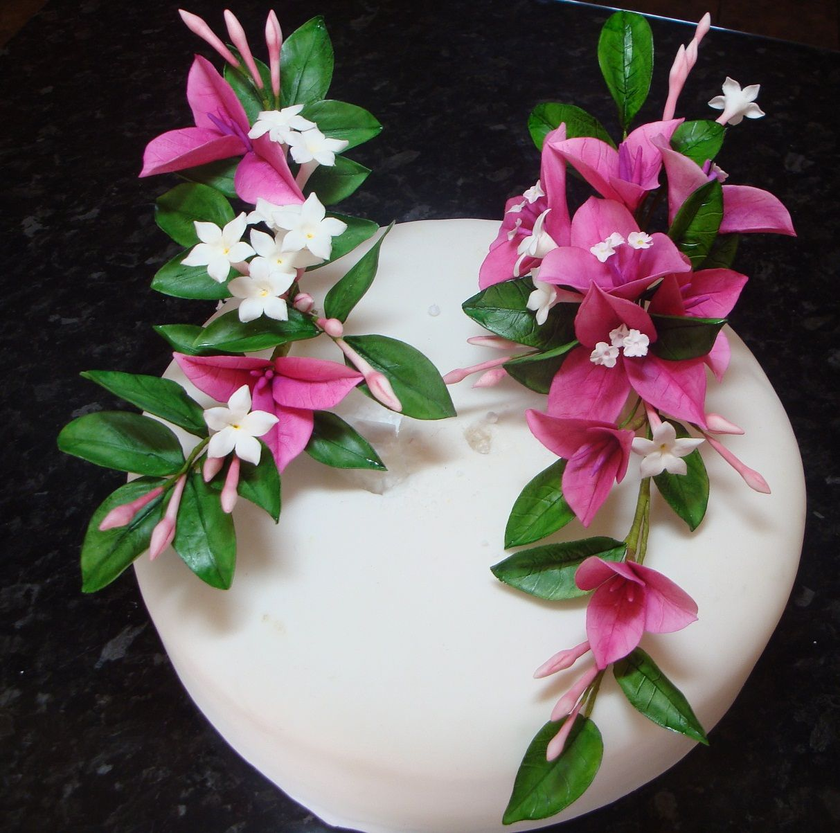 Bougainvillea And Chinese Jasmine Cake Toppers Leaves Trees