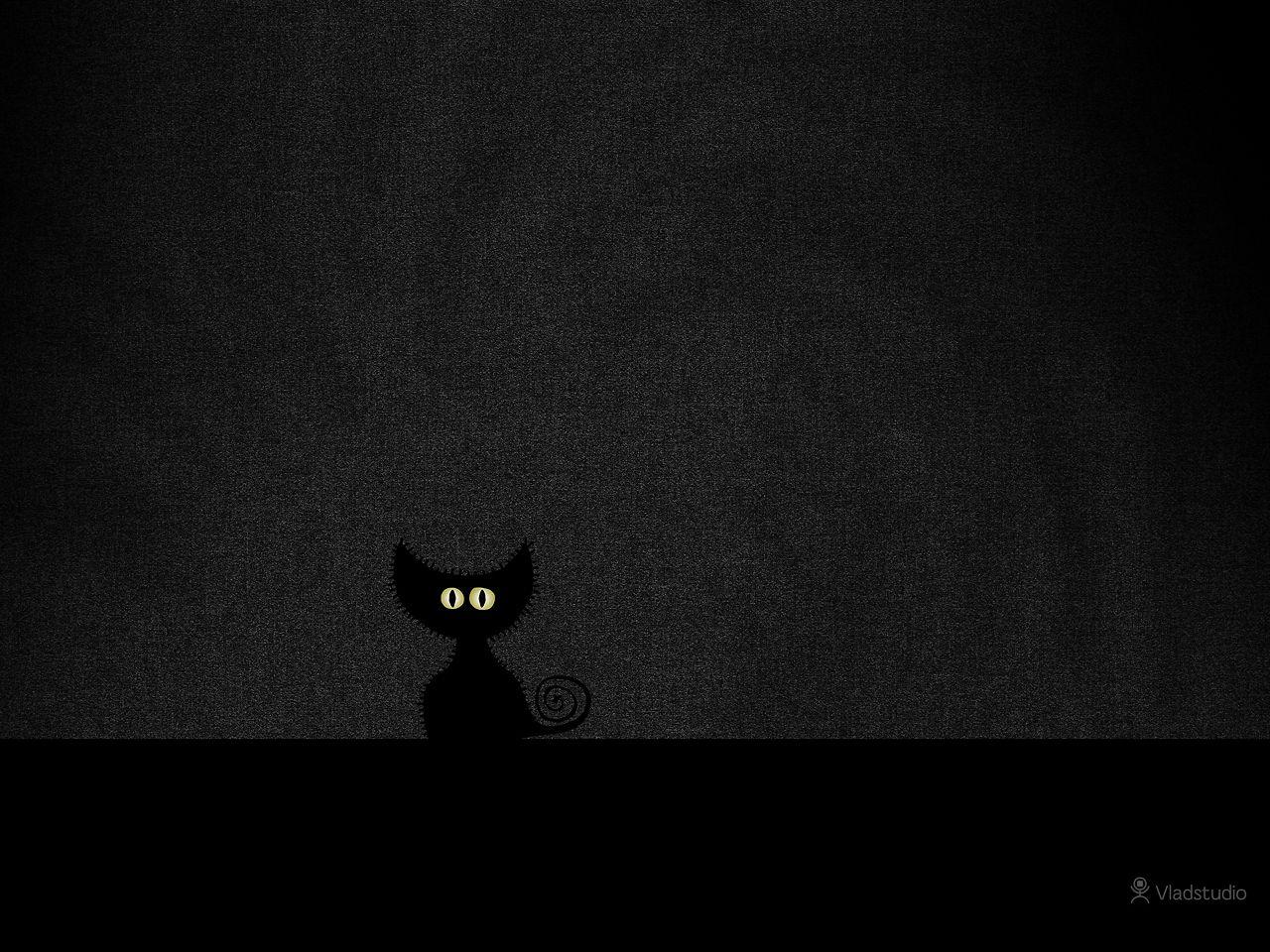 Black Cat In Dark Room Vladstudio Free Desktop Wallpapers 3 My Favorite Black Cat Illustration Cat Illustration Cat Wallpaper