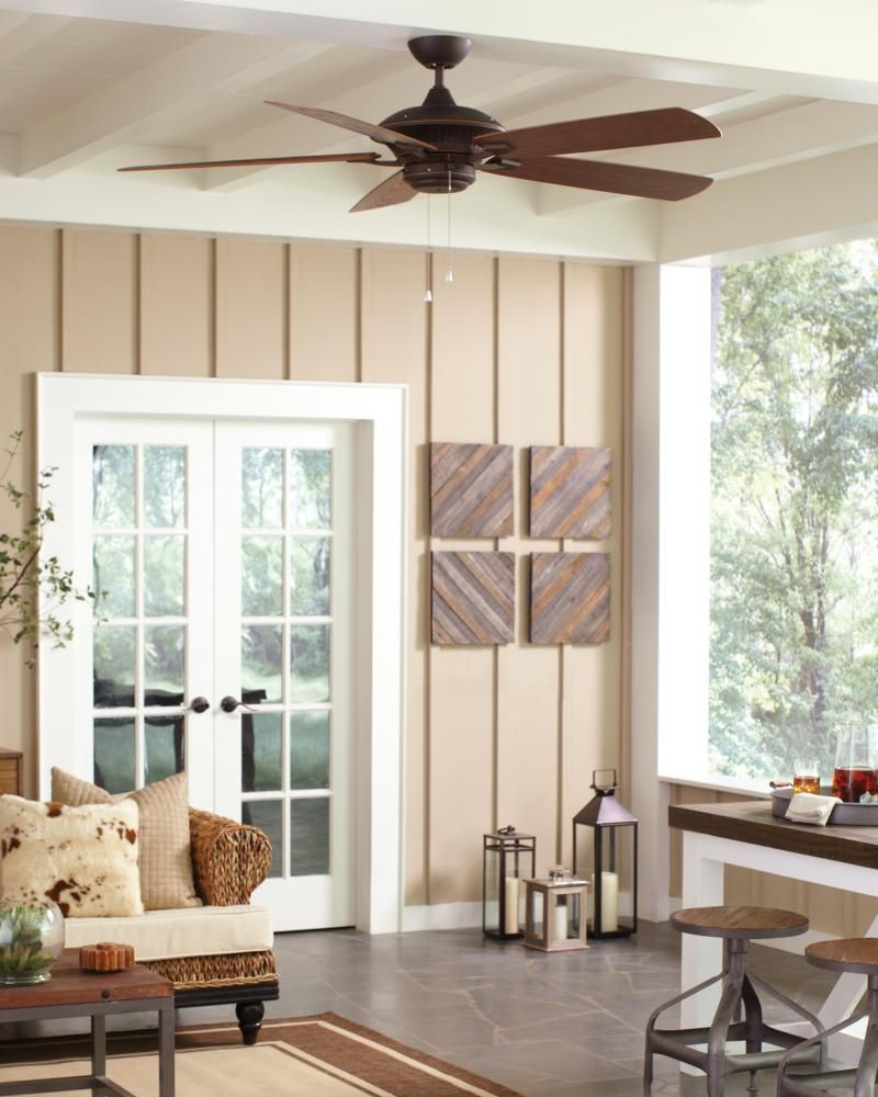 """The Cyclone Collection: The Cyclone outdoor ceiling fan by Monte Carlo provides powerful airflow for outdoor environments. With a 60"""" blade span and a premium power motor, the Cyclone is guaranteed to clear the air quickly and efficiently. It's available in three different finishes, and is ENERGY STAR®-qualified and wet-rated."""