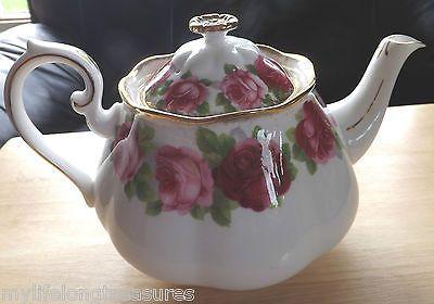 Old English Rose Royal Albert Vintage Tea Pot Brushed Gold Gilt   eBay