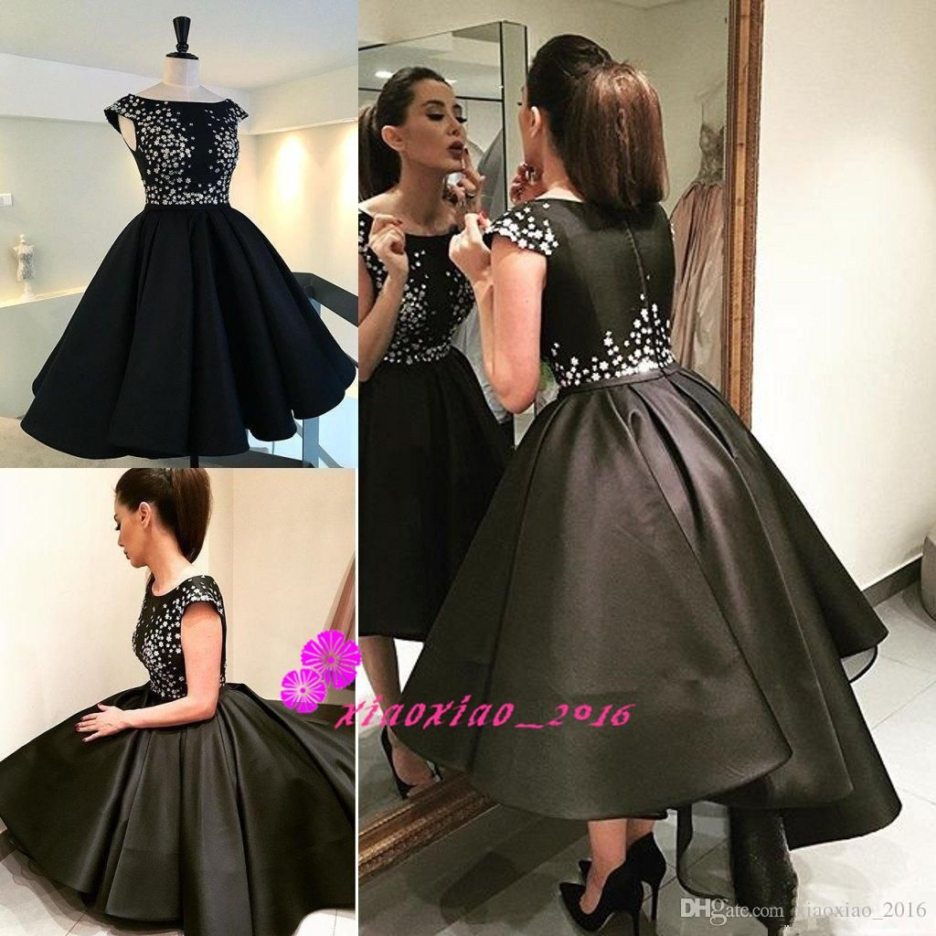 be329f2a19d7 Short Black Formal Evening Dresses High Low Satin Beaded Knee Length Prom  Gowns 2016 Capped Sleeves Puffy Pleated Party Gowns Custom Made Online with  ...