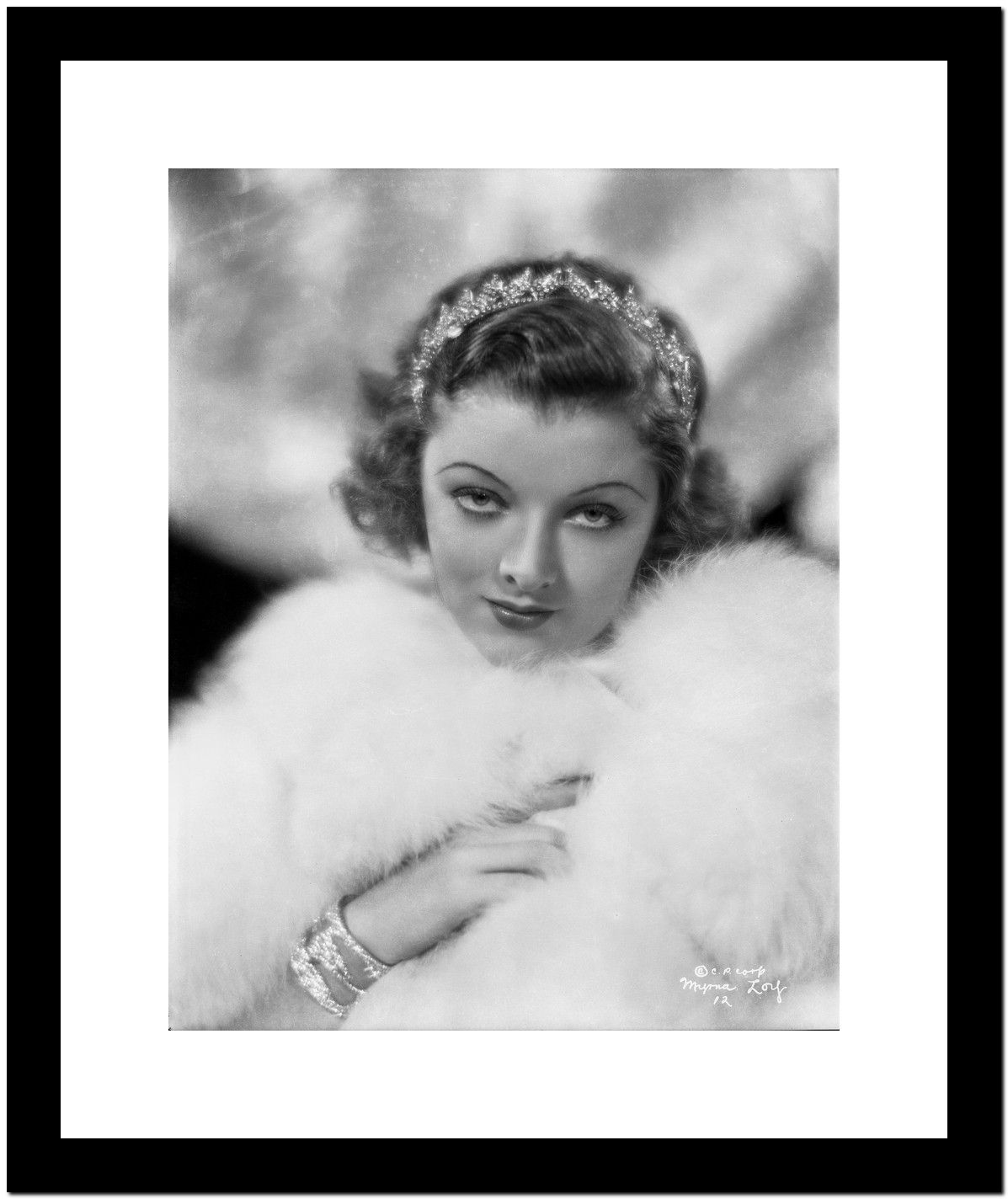 Myrna Loy Portrait in Feather Coat Premium Art Print
