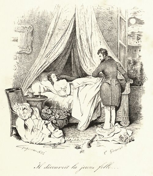 Il découvrit la jeune fille  (He uncovered the girl)    Illustration by Jean Gigoux, from L'Artiste, vol 3-8, 1845.  Via archive.org.