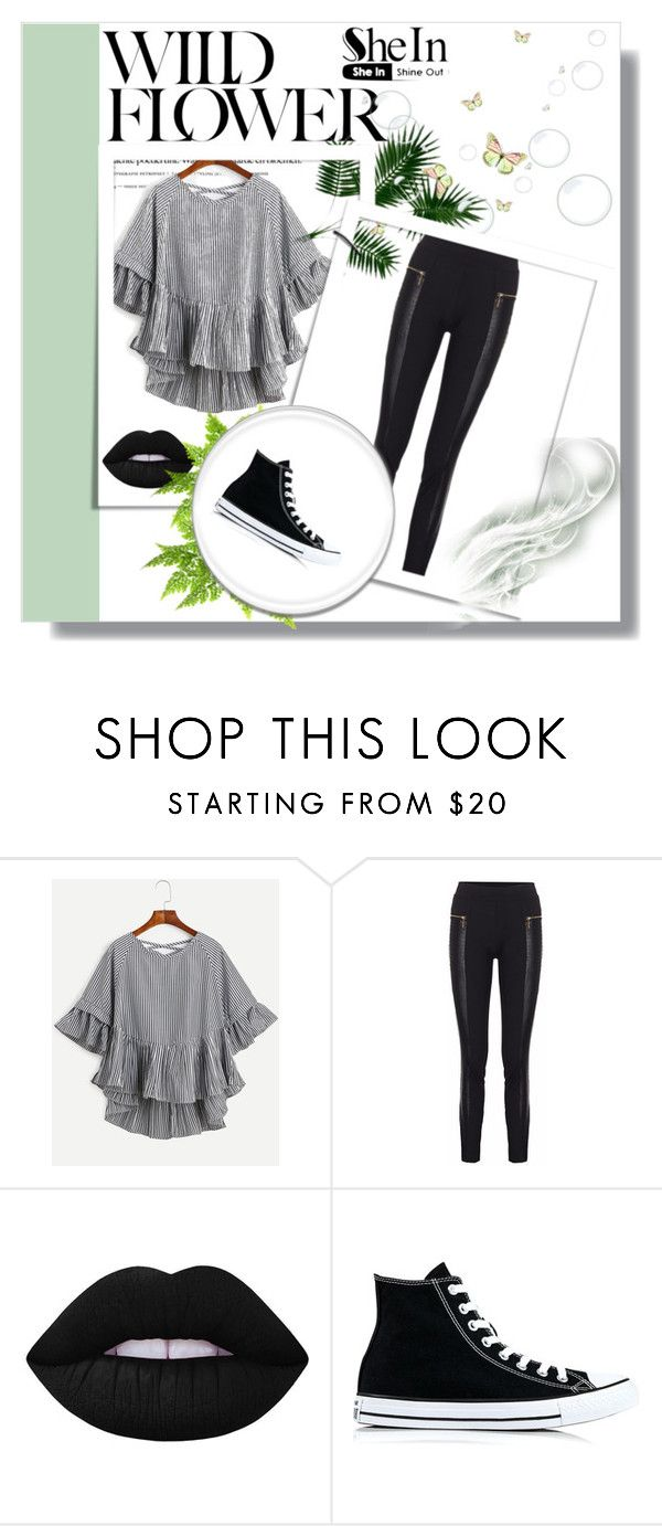 """""""SheIn"""" by selenagomez-163 ❤ liked on Polyvore featuring Lime Crime and Converse"""