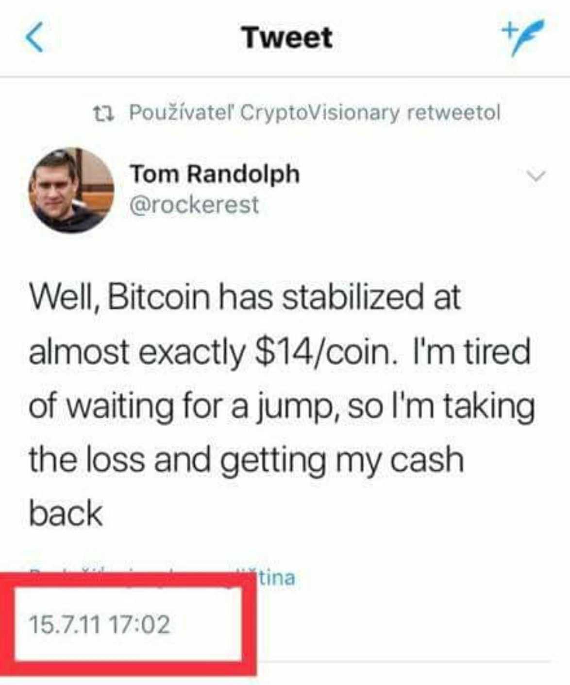 Happy Investor Who Sold Btc When It Stabilized 14 Tired Of Waiting Bitcoin Cryptocurrency