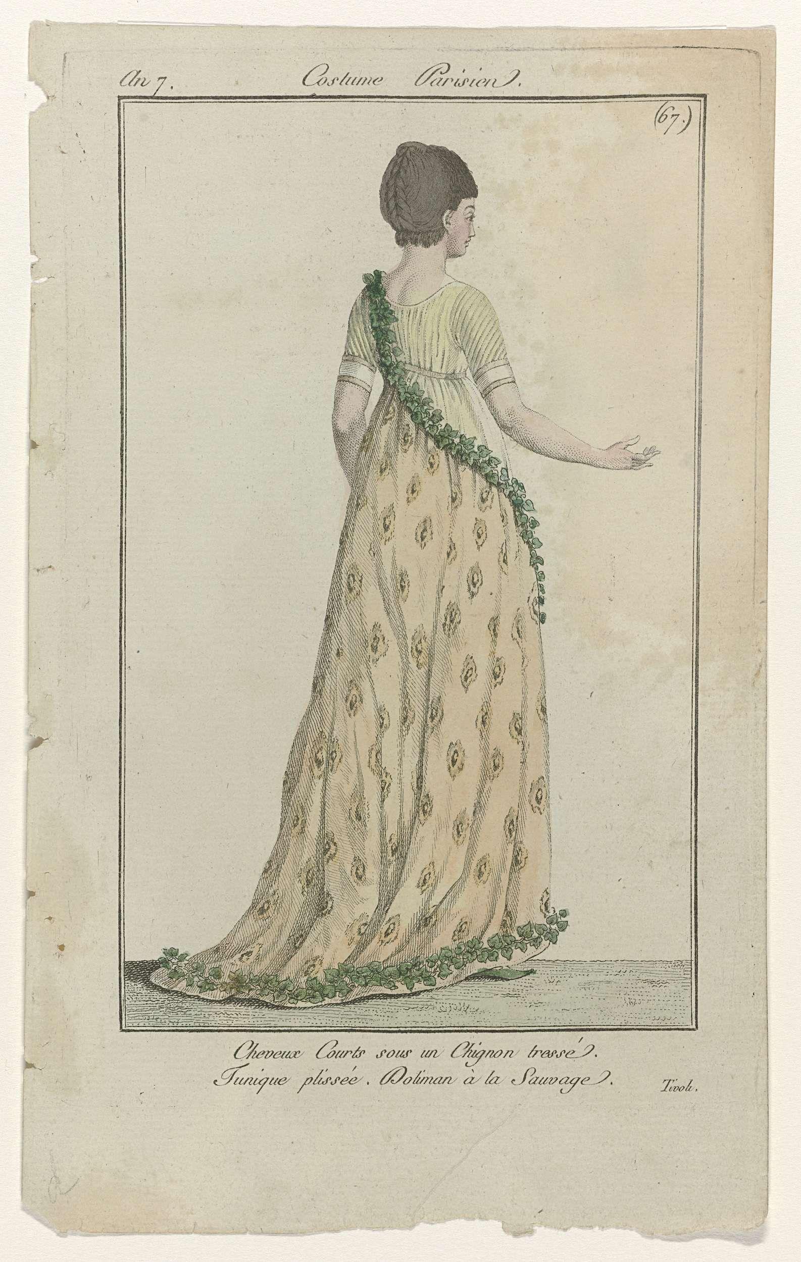 Journal des Dames et des Modes, Costume Parisien, 11 octobre 1798, An 7 (67) : Cheveux Courts..., Anonymous, Sellèque, Pierre de la Mésangère, 1798