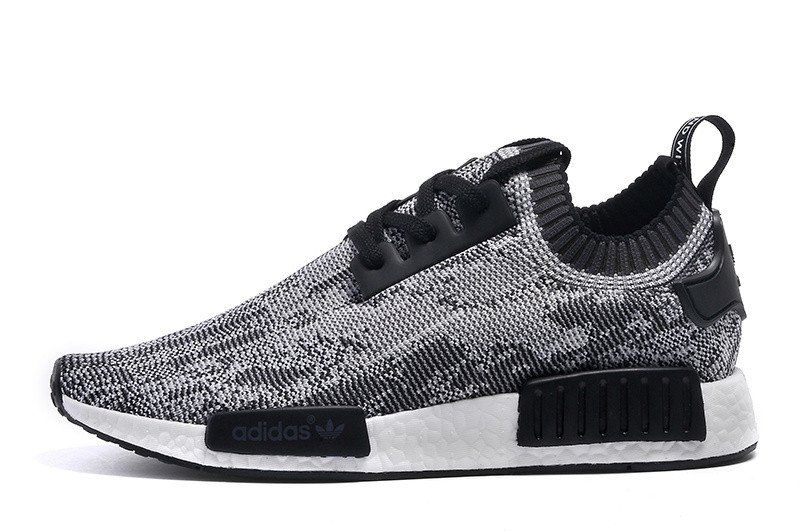 more photos 8f405 ccd9a Adidas NMD R1 Men Runner Primeknit Glitch Camo BlackWhite