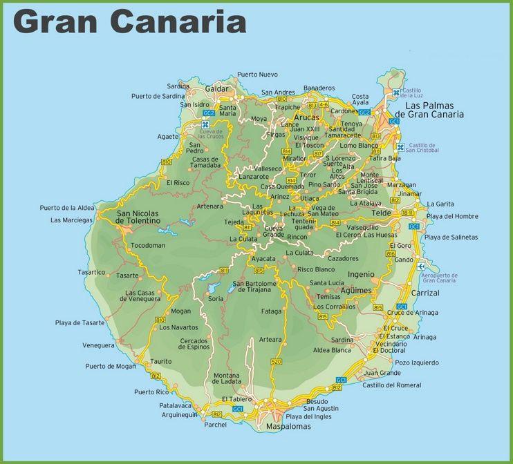 Kanaren Inseln Karte.Gran Canaria Road Map Gran Canaria Kanarische Inseln