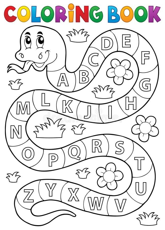 Coloring Book Snake With Alphabet Theme Stock Vector - Illustration of drawing, education: 65596159