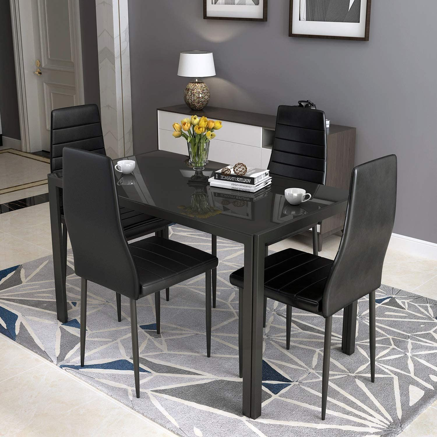Hcromat 5 Piece Faux Dining Set Modern Metal Kitchen Table With High Back Chairs Home Furnitur In 2021 Modern Dining Table Set Small Dining Table Modern Metal Kitchen