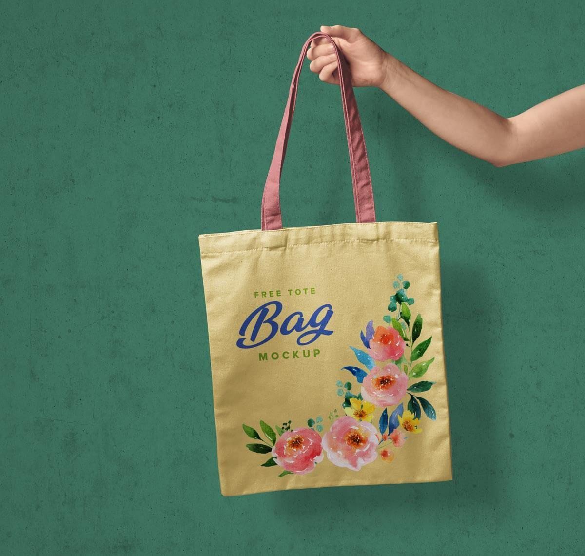 Download Free Hand Holding Tote Shopping Bag Mockup Psd Designbolts In 2020 Bag Mockup Bags Tote Bag