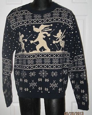 Ugly christmas ski sweater disney mickey donald goofy 100% wool ...
