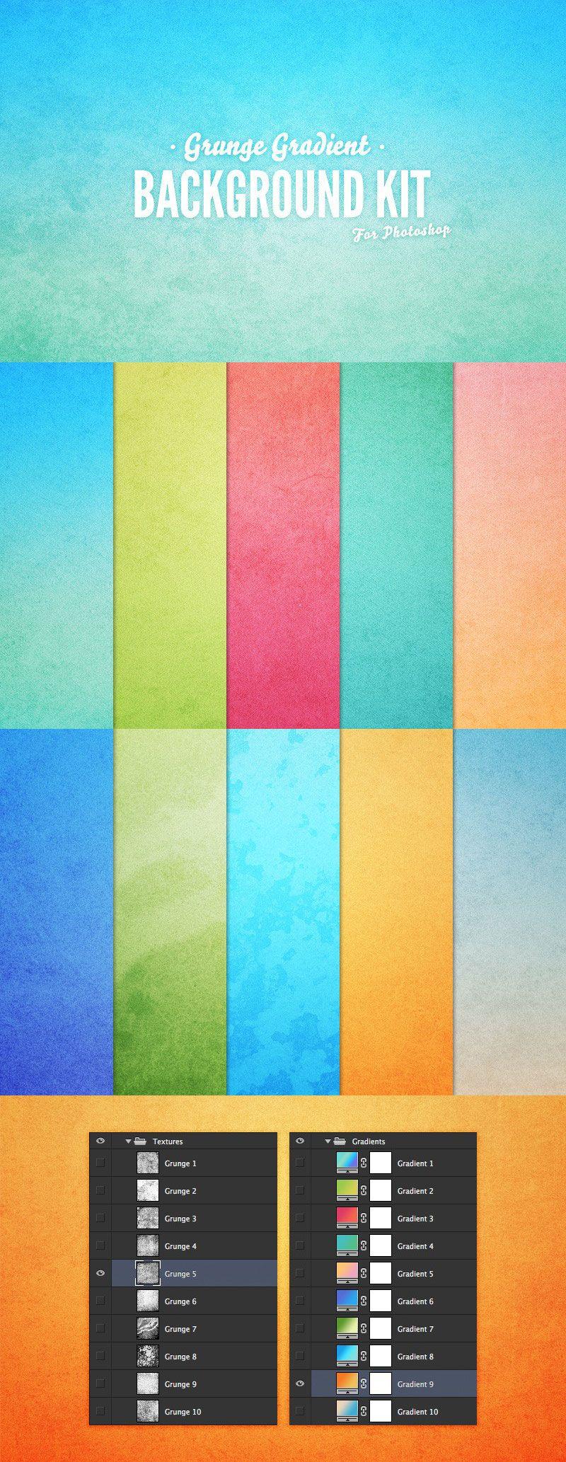 Grunge Gradient Background Kit design, Graphic