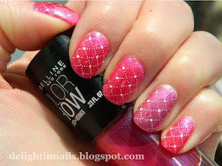 Maybelline Color Show Crushed Candy + OPI Victoria Velvet - my first stamping adventure!