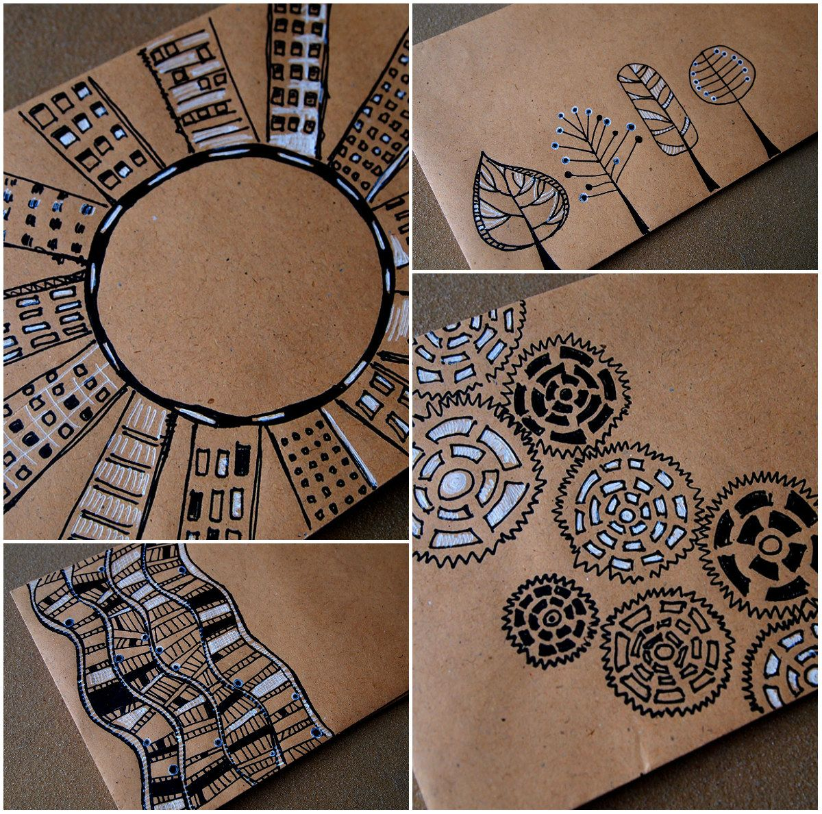 Never underestimate the uses of brown craft paper crafts mail art envelopes try tangles on kraft paper with black micron white gelly roll always looks great via blue birdie love working on brown craft paper jeuxipadfo Choice Image