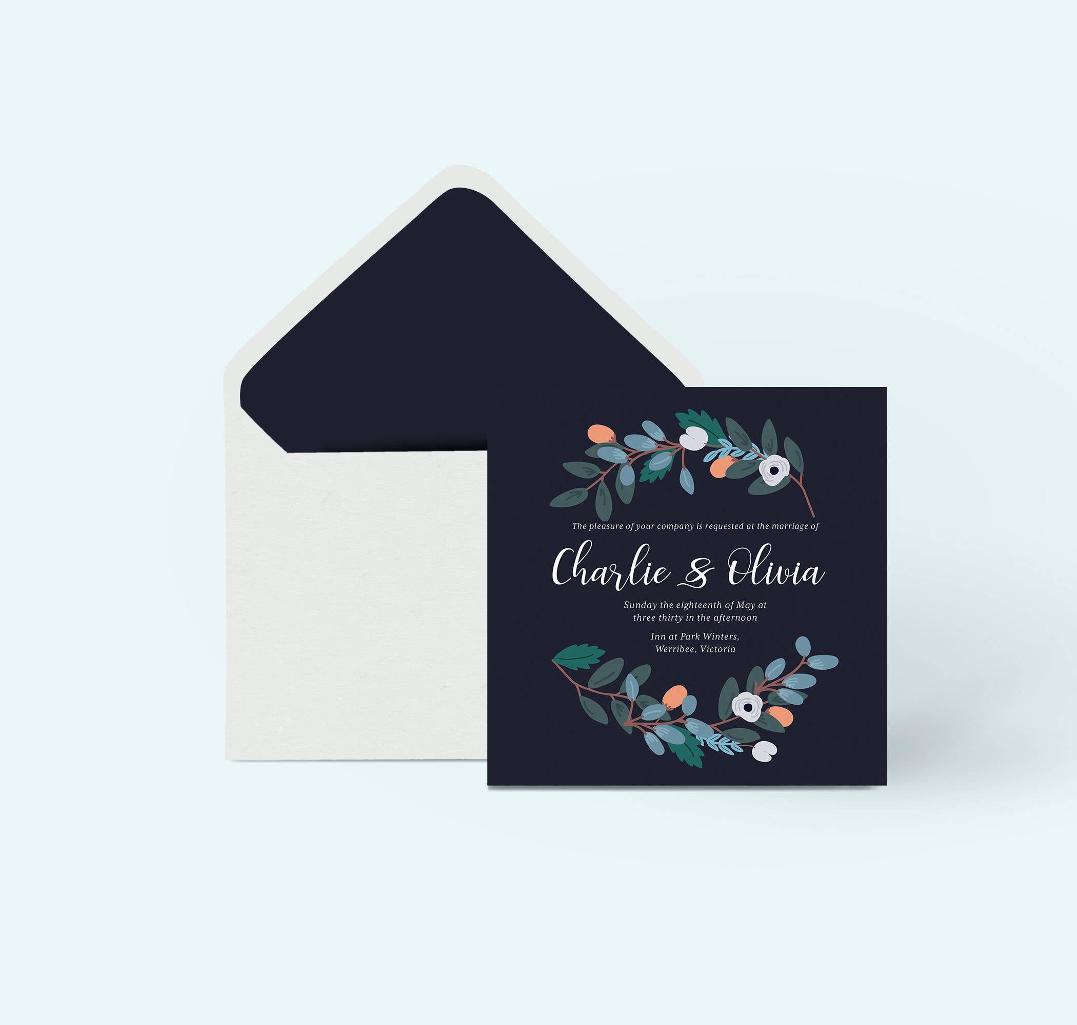 Printable wedding invitation template, floral wedding invite ...