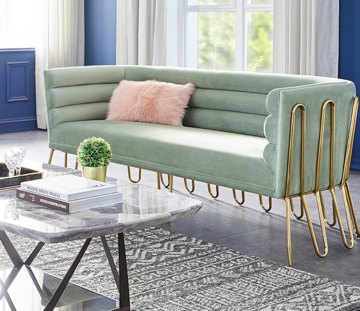 Light Green Velvet Gold Sofa Vig Modern Contemporary Divani Casa Bixby Vgca1105 Sofa Grn In 2021 Gold Sofa Green Sofa Living Green Sofa