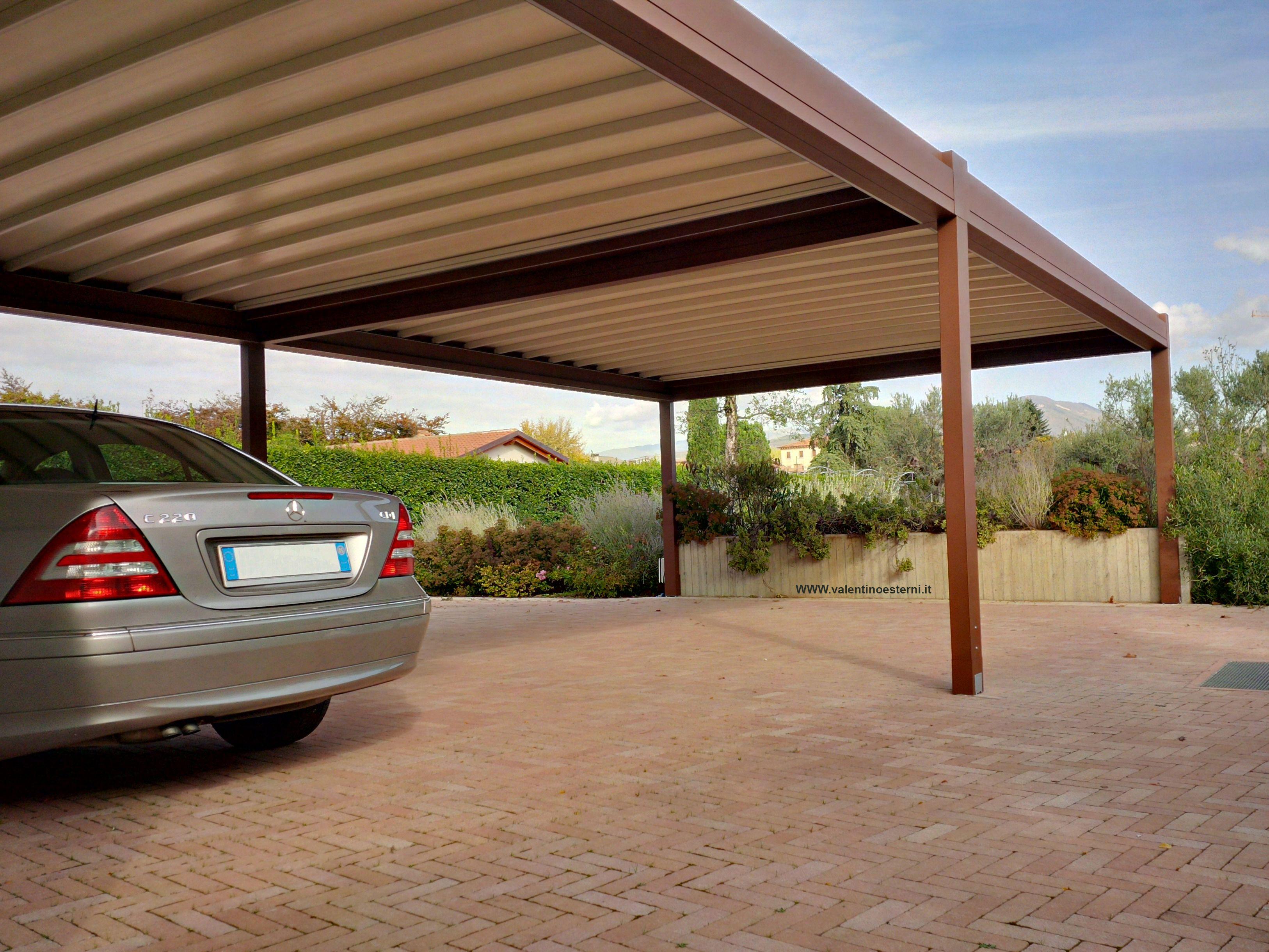 Carport 4 posti auto in alluminio e telo pvc scorrevole