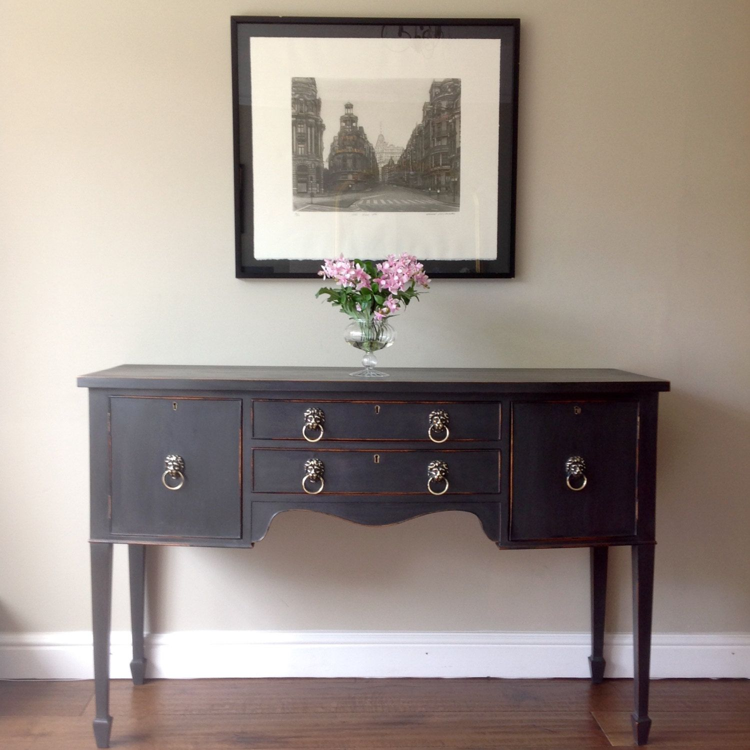 *NOW SOLD* Antique Style Vintage Hand Painted Annie Sloan Graphite Black  Sideboard Server Serpentine Console Table Hallway by ClyneCoFurniture on  Etsy - Antique Style Vintage Hand Painted Annie Sloan Graphite Black