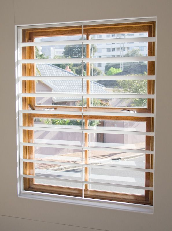 White louvred burglar bars burglar bars pinterest for Window bars design