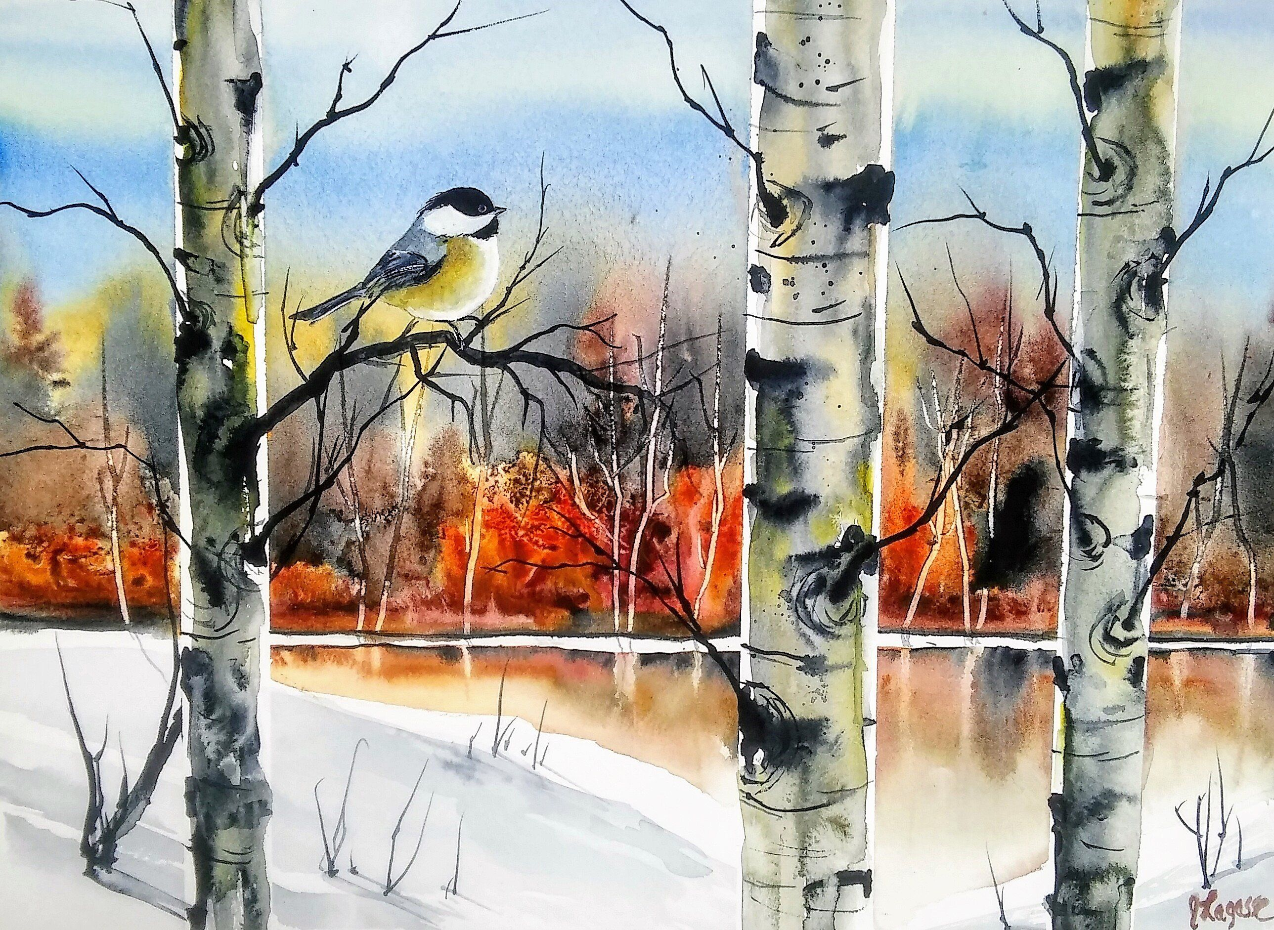 Original Watercolour Painting By Jim Lagasse Silver Birch Trees