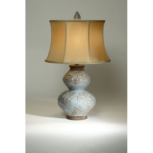 Bombay Light Blue One Light Table Lamp With French Reed Shantung Round  Shade .