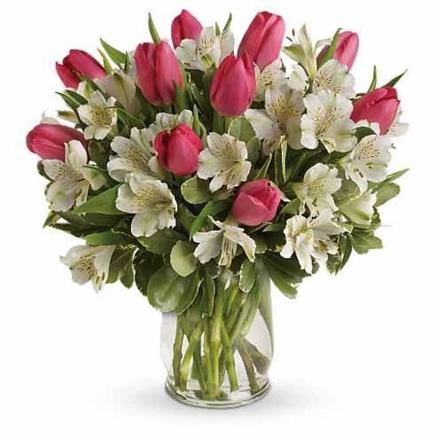 Pink tulip bouquet of cheap flowers and pink tulips for cheap flower