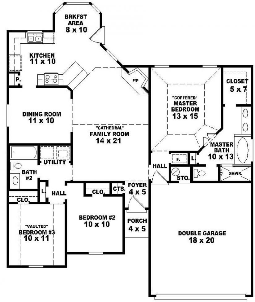 654060 One Story 3 Bedroom 2 Bath French Style House Plan House Plans Floor Plans Home P Basement House Plans Bedroom Floor Plans One Level House Plans