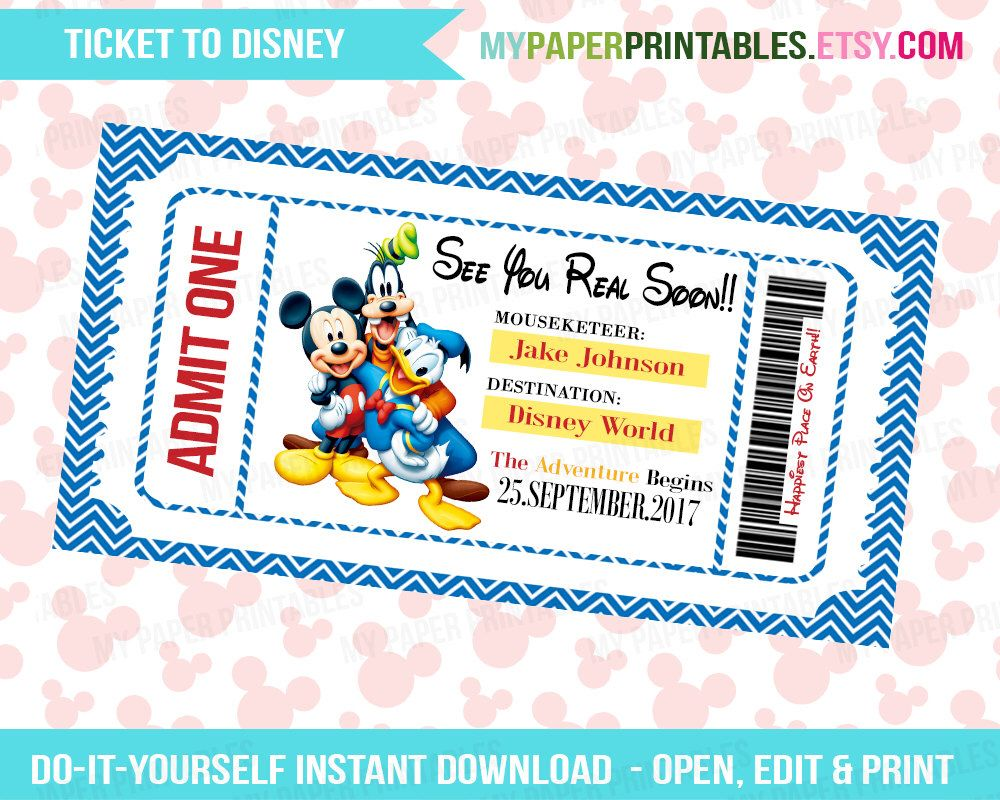 This is a photo of Unforgettable Free Printable Pretend Disney Tickets