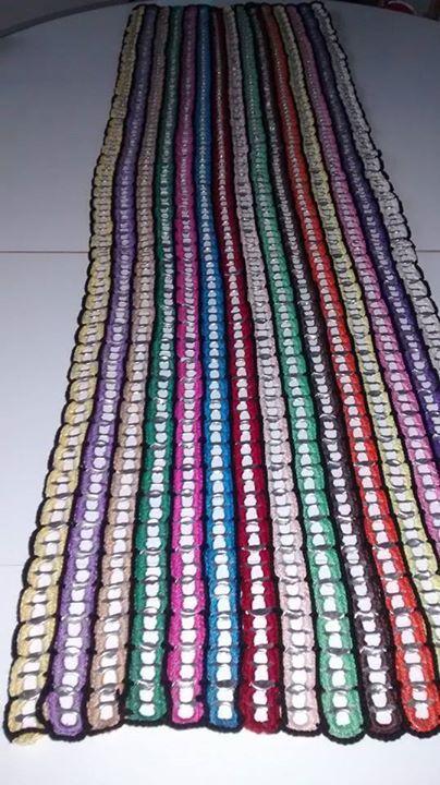 Caminho De Mesa Em Croche Com Material Reciclavel Lacre De