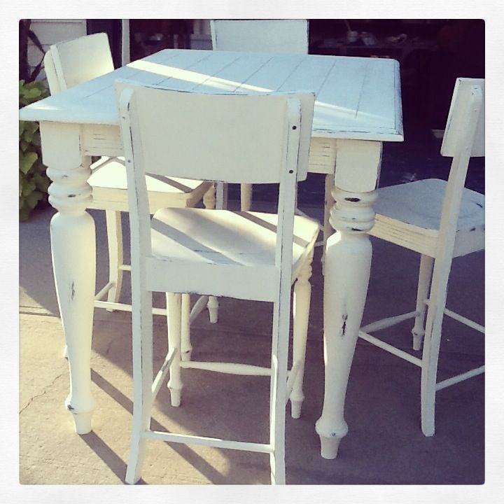 Annie Sloan Old White Heavily Distressed Pub Style Table And Chairs Follow Me On Facebook At Second L Pub Style Table Pub Table And Chairs Diy Kitchen Table
