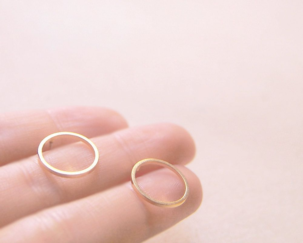 Simple Delicate Ring Circle Stud Post Matte Gold Earrings. $15,00 ...