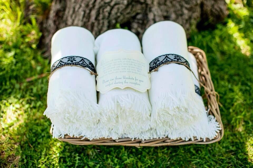 Providing throw blankets for your outdoor wedding is a ...