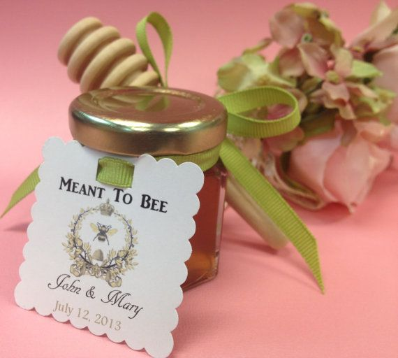 24 Qty Meant To Bee Honey Wedding Shower Favors With Dipper Personalized Tags